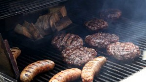 bbq sausage and burgers